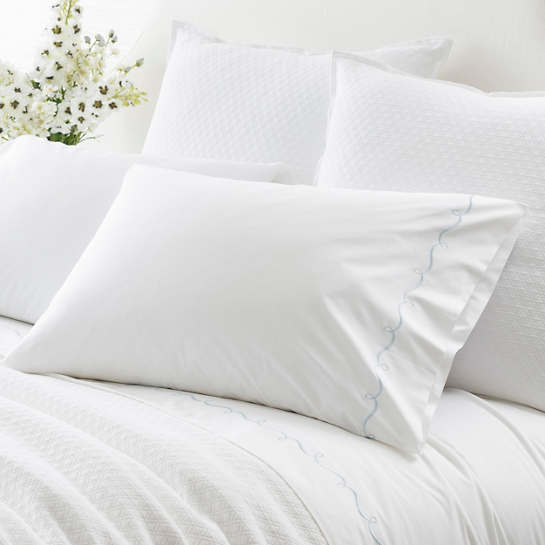 Embroidered Hem White/Dusty Blue Pillowcases