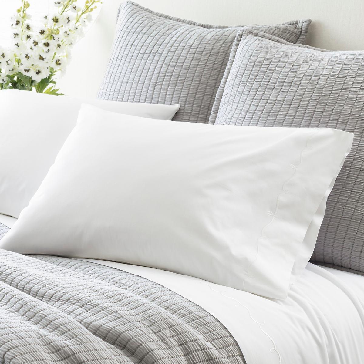 Embroidered Hem White/White Pillowcases