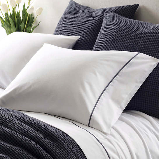Essential Tipped Percale Blue Pillowcases