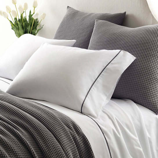 Essential Tipped Percale Grey Flat Sheet