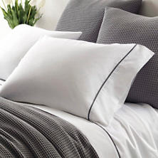 Essential Tipped Percale Grey Pillowcases