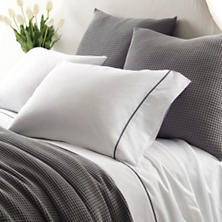 Essential Tipped Percale Grey Sheet Set