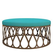 Estate Linen Turquoise Rochelle Ottoman