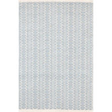 Fair Isle Swedish Blue/Ivory Cotton  Woven  Rug