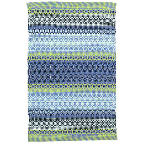 Fiesta Stripe French Blue Green Indoor Outdoor Rug Dash