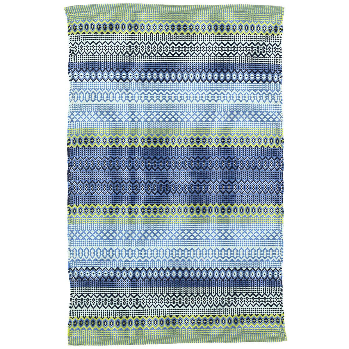 Fiesta Stripe French Blue Green Indoor Outdoor Rug Dash
