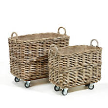 Flamand Rectangle Baskets With Wheels/Set Of 2
