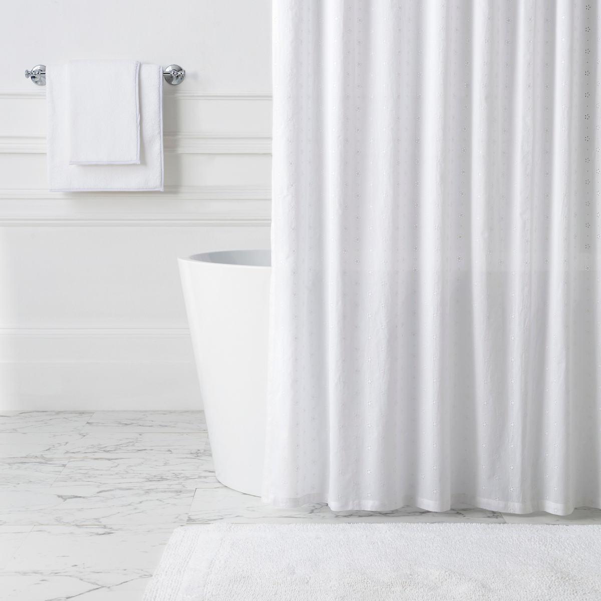 Flower Eyelet White Shower Curtain