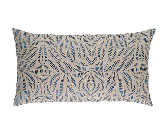 Fossil Embroidered Indigo Decorative Pillow