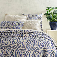 Fossil Embroidered Indigo Duvet Cover