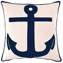 Admiral Ivory/Navy Indoor/Outdoor Pillow