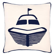 Boat Navy Indoor/Outdoor Pillow