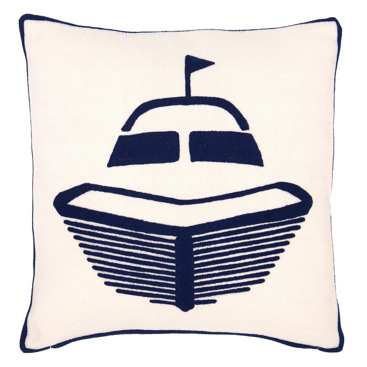 Boat Navy Indoor/Outdoor Pillow