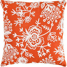 Flora Crewel Tangerine Indoor/Outdoor Pillow
