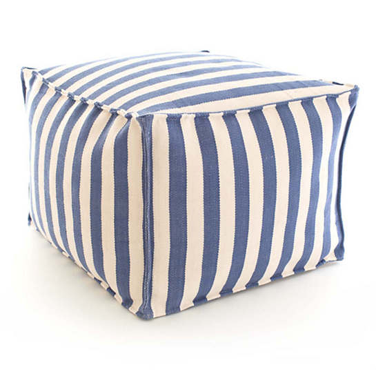 Trimaran Stripe Denim/Ivory Indoor/Outdoor Pouf