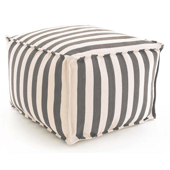 Trimaran Stripe Graphite/Ivory Indoor/Outdoor Pouf