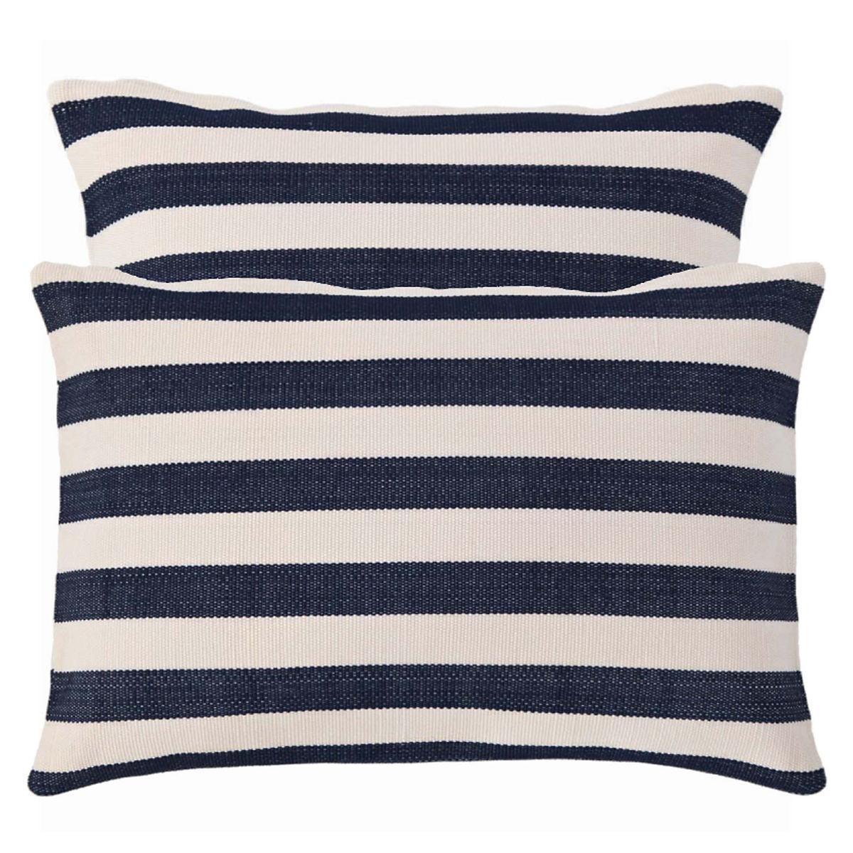 Trimaran Stripe Navy/Ivory Indoor/Outdoor Pillow