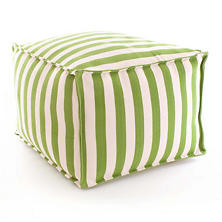 Trimaran Stripe Sprout/Ivory Indoor/Outdoor Pouf