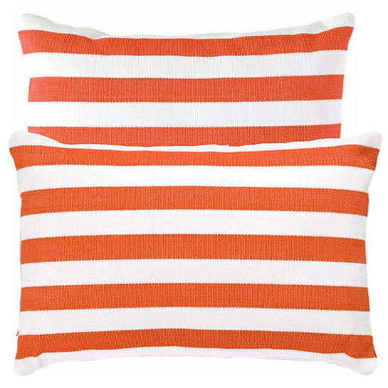 Trimaran Stripe Tangerine/White Indoor/Outdoor Pillow | The Outlet