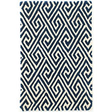 Fretwork Navy Wool Tufted Rug