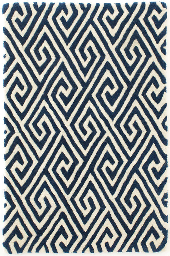 Fretwork Navy Tufted/Carved Wool Rug