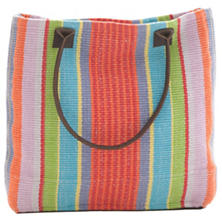 Garden Stripe Woven Cotton Tote Bag