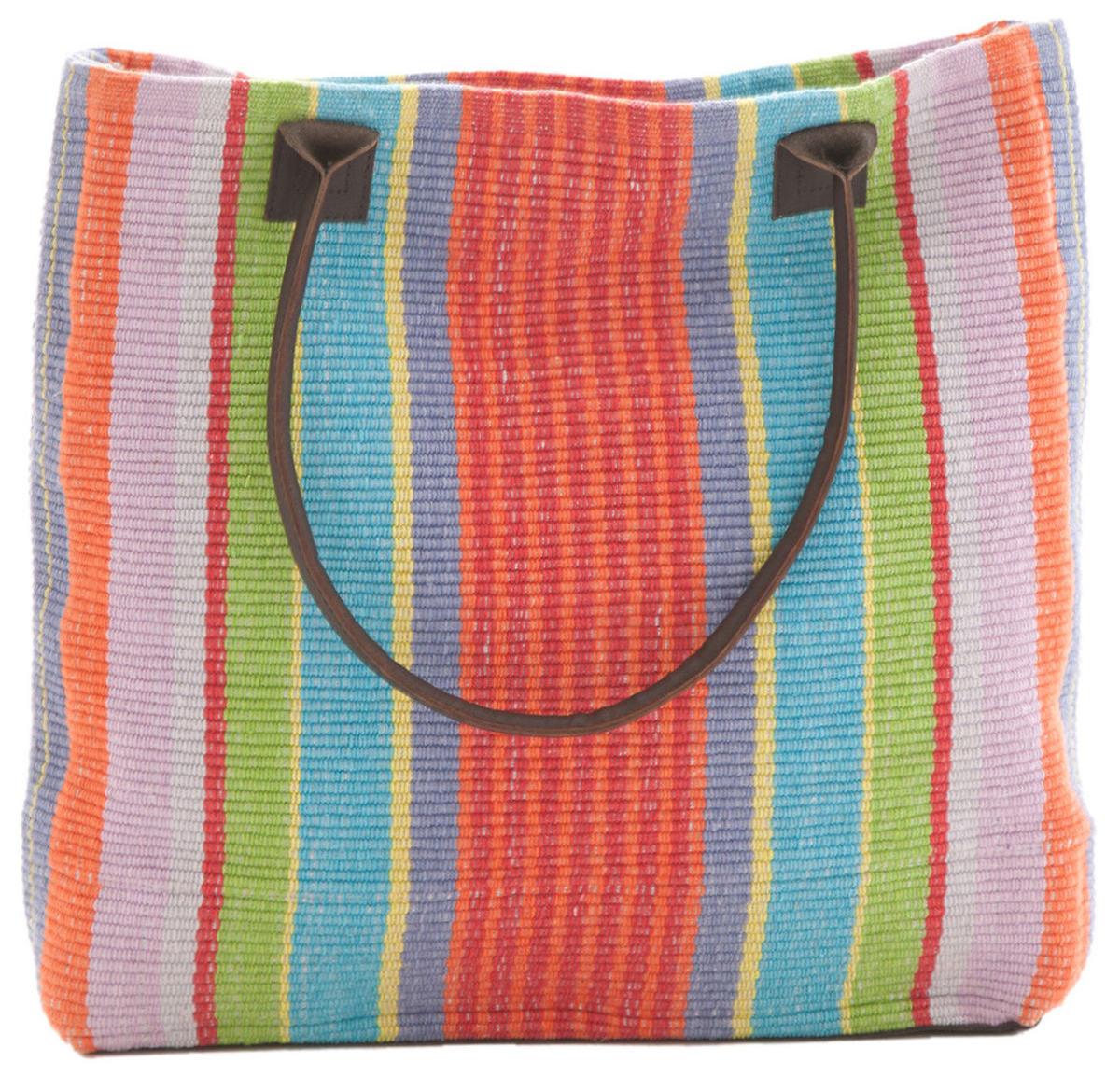 Garden Stripe Woven Cotton Tote Bag