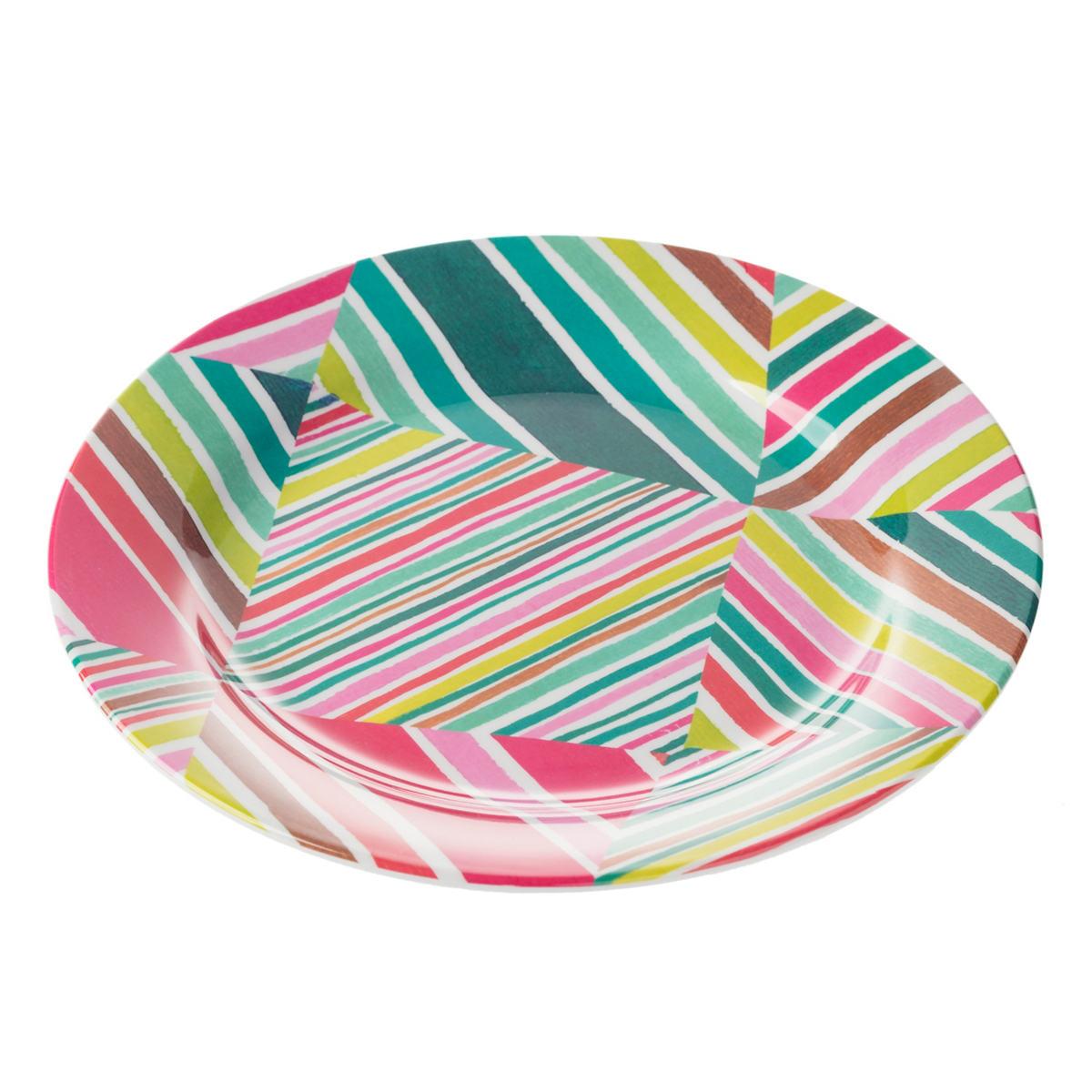 Geo Bright Melamine Dinner Plate/Set Of 4