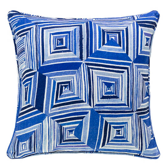 Geo Floral Blue Decorative Pillow