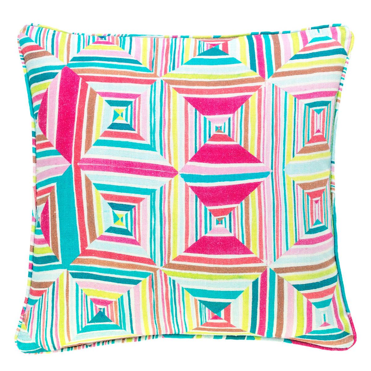 Geo Floral Linen Bright Decorative Pillow