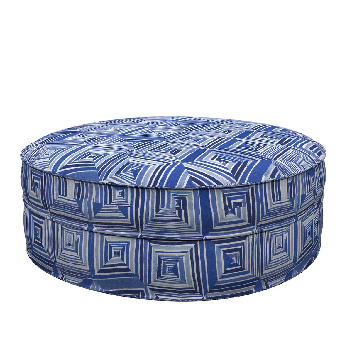 Geo Blue Palm Court Ottoman
