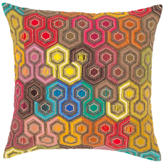Geodesic Embroidered Decorative Pillow