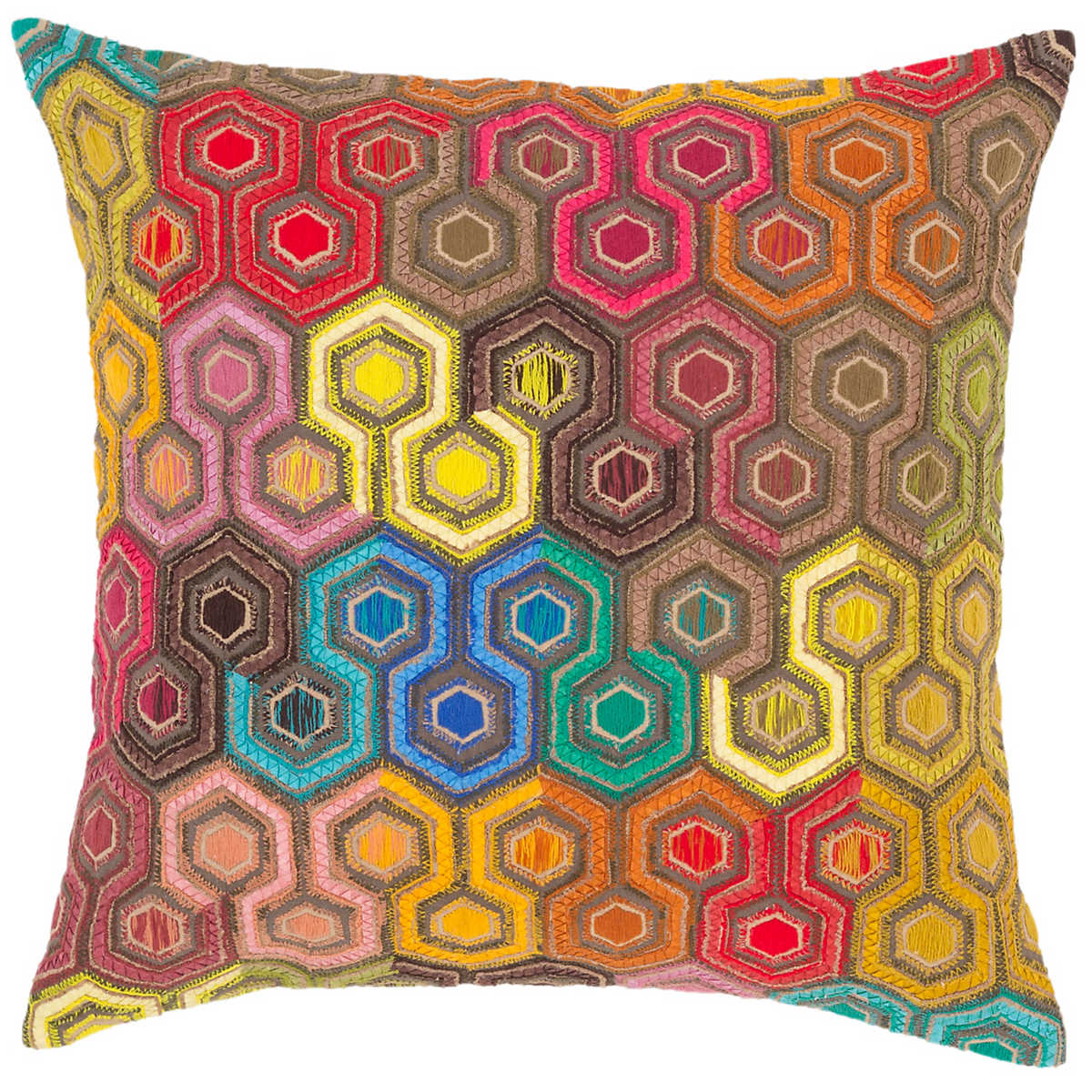 Geodesic Embroidered Decorative Pillow Pine Cone Hill