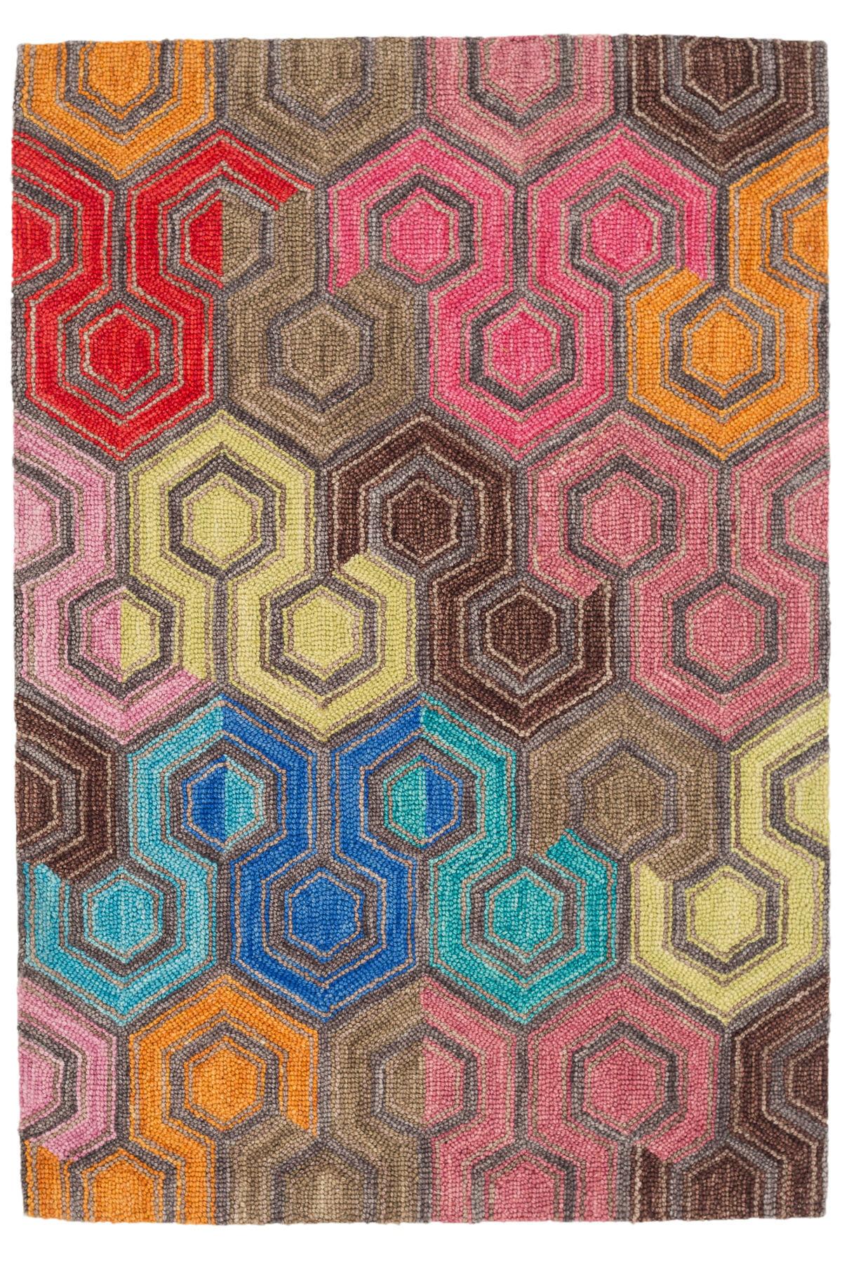 Geodesic Micro Hooked Wool Rug
