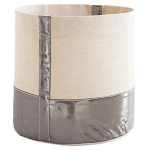 Glam Canvas Natural/Pewter Bin