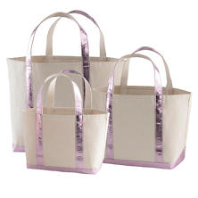 Glam Canvas Natural/Lilac Tote Bag