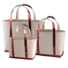 Glam Canvas Natural/Cranberry Tote Bag
