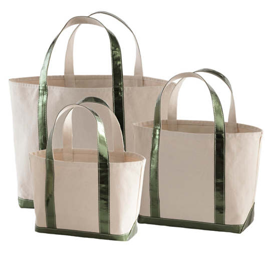 Glam Canvas Natural/Emerald Tote Bag