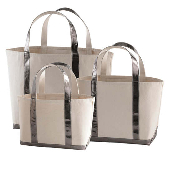 Glam Canvas Natural/Pewter Tote Bag