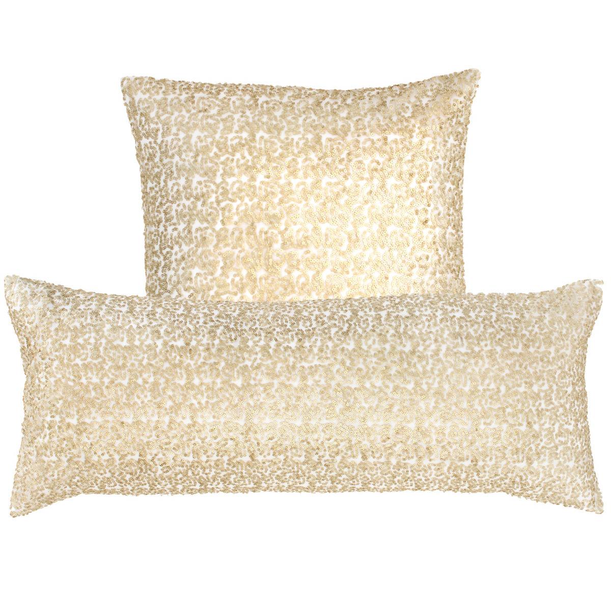Glaze Sequin Ivory/Sand Decorative Pillow