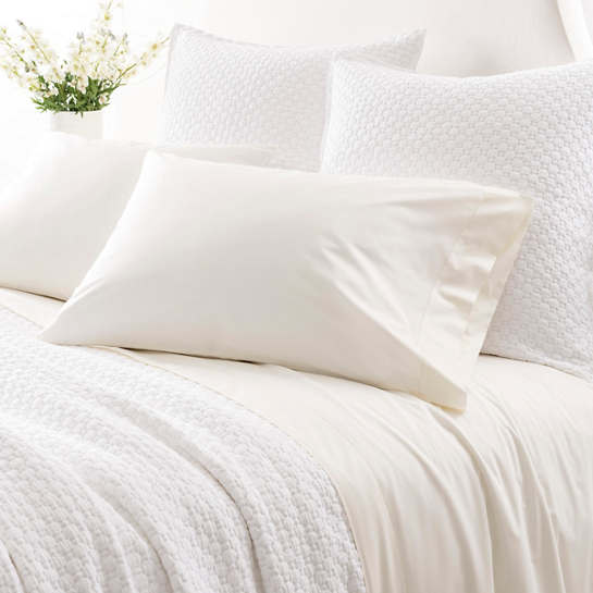 Grace Percale Ivory Fitted Sheet