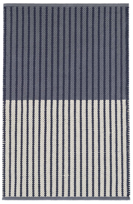 Graham Navy Woven Cotton Rug