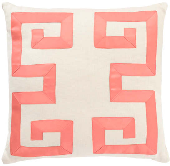 Ivory/Coral Greek Key Decorative Pillow
