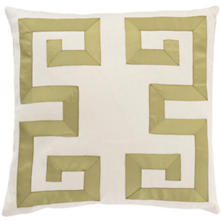 Ivory/Olive Greek Key Decorative Pillow
