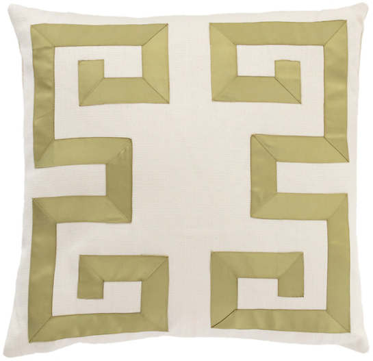 Beau Ivory/Olive Greek Key Decorative Pillow