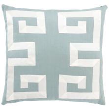 Sky/Ivory Greek Key Pillow