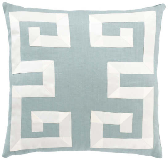 Sky/Ivory Greek Key Decorative Pillow