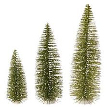 Green Bottle Brush Trees/Set of 3