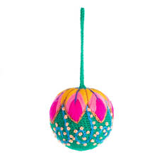 Green Embroidered Ball Ornament