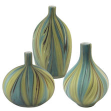 Green Wave Vases/Set Of 3